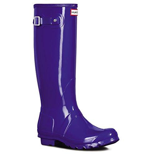 Hunter Orignal Tall Blue Gloss Womens Wellington Boots-7 Womens Wellington
