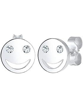 Elli Damen Ohrringe Smiley Icon Emoji 925 Sterling Silber Swarovski Kristalle 0301570317