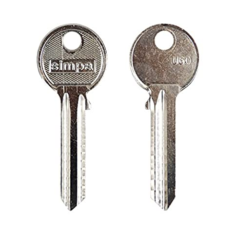 25 x Simpa® Universal U6D UL054 UL2 6 Pin Cylinder Superior Quality Steel Key Blanks Spare Keys Multiple Keys Great for Professional Key Cutters & Locksmiths (need to be cut) - PACK OF 25 KEYS