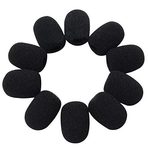 Mikrofon Scheibenwischer, Schwamm Schaum schwarz Mini Mikrofon Headset Mikrofon Cover für Lavalier Knopflochmikrofon, 10Stk/Länge: 28mm, Breite: 22mm, Innen Caliber: 8mm