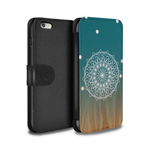 STUFF4 PU-Leder Hülle/Case/Tasche/Cover für Apple iPhone 4/4S / Leuchtende Sterne Muster / Ombre Muster Kollektion Mandala/Holz