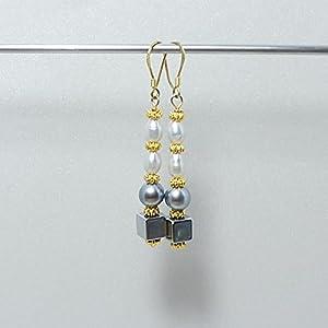 Hämatit Ohrringe - graue Zuchtperlen - 925 Silber vergoldet