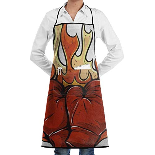 Kostüm Boxing Womens - Drempad Schürzen Boxing Glove Fire Apron Kitchen Cooking Commercial Restaurant Apron for Women and Men-Perfect for Gifts