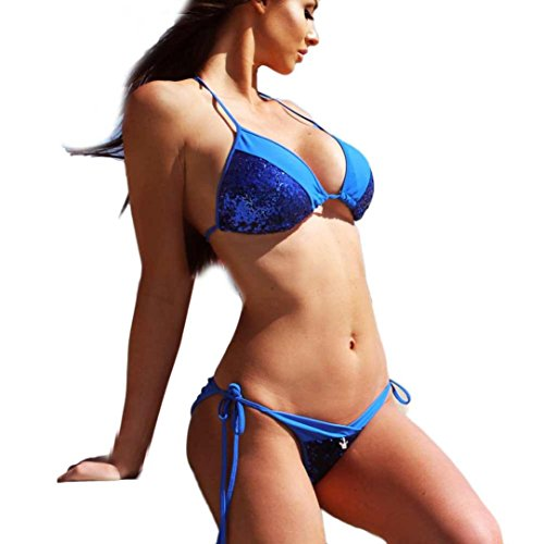 Bikini Damen,Binggong Frauen Bandage Bikini Set Push-up Gepolsterter BH Badeanzug Strand Bademode Pailletten BH Badeanzug Niedrige Taille Dünn Bikini Große Größen Mode Mädchen (Blau, S) (Cap Sleeve Kurzarm-pullover)