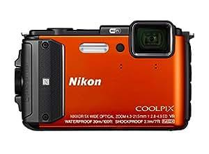 "Nikon Coolpix AW130 Fotocamera Digitale Compatta, 16 Megapixel, Zoom 5X, 6400 ISO, OLED 3"", Full HD, Subacquea, Antiurto, Antigelo, GPS, Wi-Fi NFC, Arancione [Versione EU]"