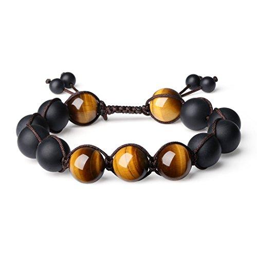 COAI Natürlicher Stein Braunes Tigerauge Geschliffener Onyx Gebetsarmband vom Einfachen Stil für Herren