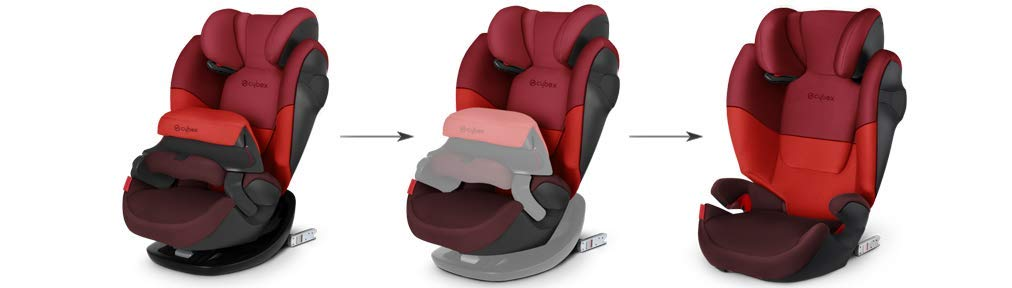 CYBEX Silver Pallas M-Fix 2-in-1 Child's Car Seat, For Cars with and without ISOFIX, Group 1/2/3 (9-36 kg), From approx. 9 Months to approx. 12 Years, Rumba Red Cybex Sturdy and high-quality child car seat for long-term use - For children aged approx. 9 months to approx. 12 years (9-36 kg), Suitable for cars with and without ISOFIX Maximum safety - Depth-adjustable impact shield, 3-way adjustable reclining headrest, Built-in side impact protection (L.S.P. System), Energy-absorbing shell 12-way height-adjustable comfort headrest, One-hand adjustable reclining position, Easy conversion to Solution M-Fix car seat for children from 3 years (group 2/3) by removing impact shield and base 2