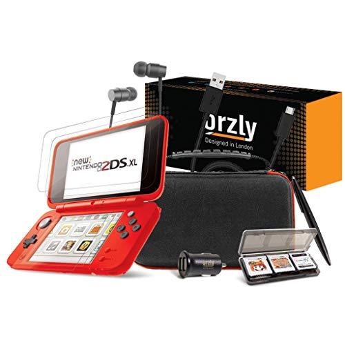 ORZLY® Accesorios 2DSXL, Pack New Nintendo 2DS XL [Paquete Incluye: Cargador de Coche/Cable USB/Rojo en Negro Edición Funda para Consola y más...] (Véase descripción para más información)