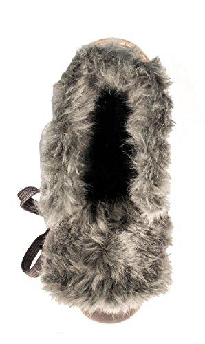Elara Damen Biker Boots | Gemütliche Worker Stiefeletten | Warm Gefüttert Grau