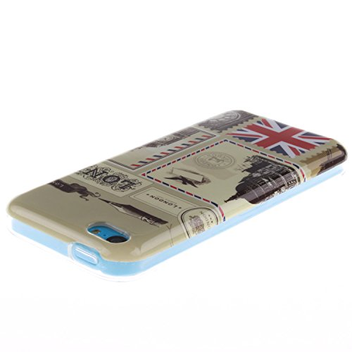iPhone 5C Hülle,iPhone 5C Case [Scratch-Resistant] , Cozy Hut Apple iPhone 5C Ultra Slim Perfect Fit Painted Designs Design Muster Malerei TPU Clear Transparent Protective back Hülle Hüllen Beschützer London Umschläge