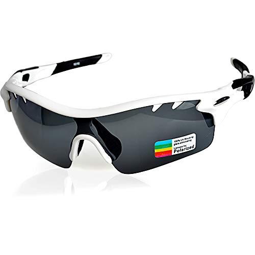 Snowledge Sportbrille Herren Damen mit 3 Wechselgläsern Polarisierte Sonnenbrille, UV400 Schutz Sport Radbrille Erwachsene für Autofahren Laufen Radfahren Klettern Angeln Golf (Weiß)