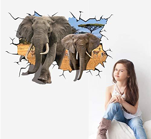 Personalidad 3D Pegatinas de Pared Grandes Elefantes Animales Pvc Zoo Animal Cartel...