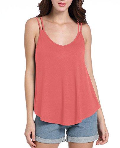 Chickwin Blusa sin mangas atractiva ocasional de la blusa del cordón del chaleco de la camiseta del V-Cuello del verano de las mujeres (XL, Sandía roja)