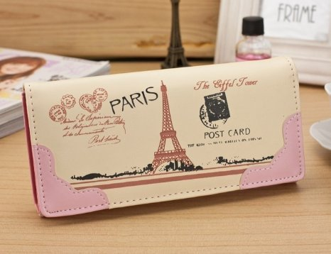 (ourbest Hot PU Karton Eiffelturm Frauen Portemonnaie Luxus Marke Design Hohe Qualität Überfalle Damen Cluth Clutch Portemonnaie Geld Kredit Karte Halter (gelb))