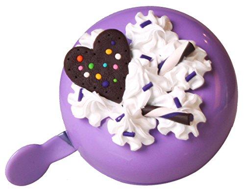 BIKEBELLE® BAKE LUV Fahrradklingel (XXL Ding Dong Fahrradglocke Sahne Cookies Erdbeeren Cup Cakes Klingel Verschiedene Farben und Varianten), BikeBell Farbe:purple