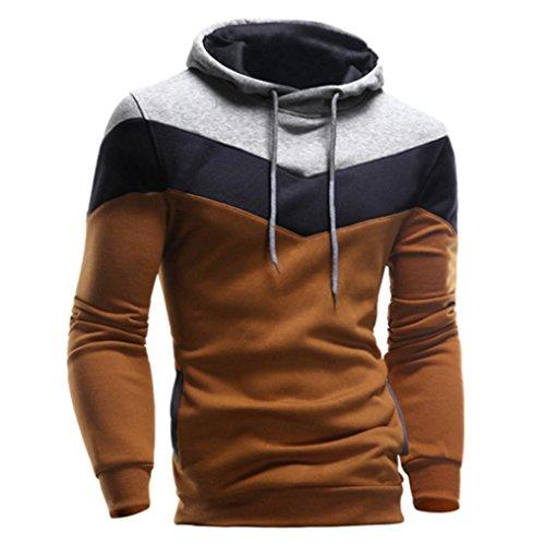 IMJONO Männer Retro Langarm-Kapuzenpullover mit Kapuze Sweatshirt Tops Jacke Mantel Outwear (EU-52/CN-3XL,Coffe)