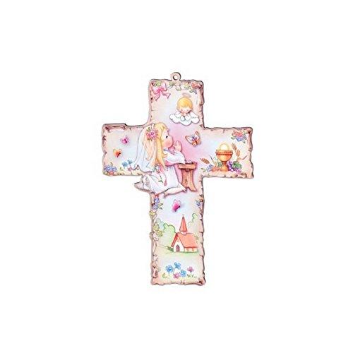 Taufkreuz Kinder-Kreuz Kinderzimmer Mädel betend mit Schutzengel - 2