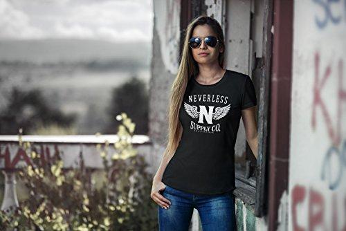 Neverless Damen T-Shirt Adler Wings Slim Fit Adler schwarz