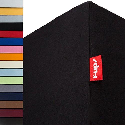 r-up Passt Spannbettlaken 180x200-200x220 bis 35cm Höhe viele Farben 100% Baumwolle 130g/m² Oeko-Tex stressfrei auch für Boxspringbetten (schwarz)