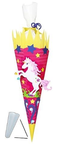 BASTELSET Schultüte - Einhorn Pferd - 70 / 85 cm - mit / ohne Kunststoff Spitze - Zuckertüte zum selber Basteln - 6 eckig Mädchen Einhörner Pink Blumen Pferde