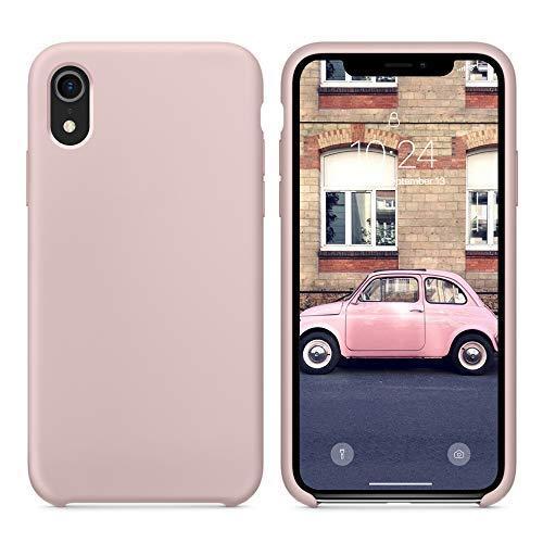Surphy cover iphone xr silicone, custodia iphone xr silicone slim cover antiurto con morbida microfibra fodera, anti graffio cover case per apple iphone xr 6.1 pollici (2018), rosa sabbia