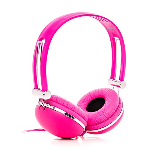 RockPapa OV820X Stereo Cuffie per Bambini / Adulti, Regolabile, Over-Ear Headphones per Tablet PC, Kindle Fire HD, innoTab FragPad LeapPad, Samsung LG, iPod iPad iPhone Rosa