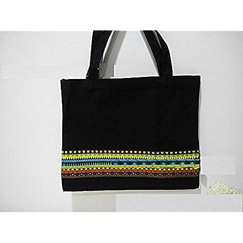 Xjoel bolsos tejidos bolsos de mano bolsas de la compra Negro