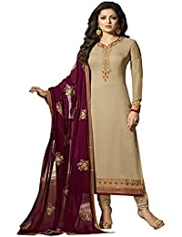 Cream & Maroon Embroidered Georgette Straight Suit