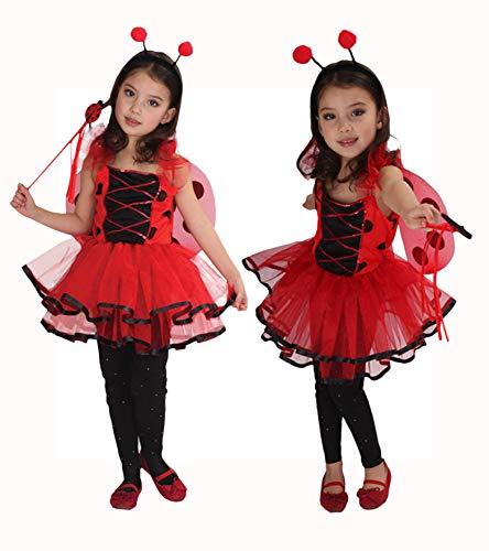 fer Kostüm Kinder Halloween Kostüm Mädchen Tierkostüm für Halloween Karneval Fasching Cosplay Ballerina Rot M/4-6Jahre ()