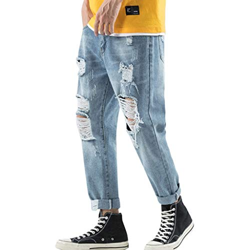Opalley 2019 uomo nuovo versione coreana sciolto gamba larga fori pantaloni di jeans maschi studente di cotone pantaloni dritti tendenza in difficoltà jeans accogliente,blu