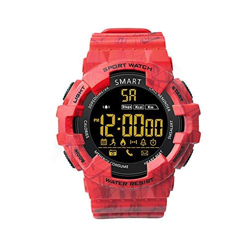 Smartwatch, EX16C Digital Smart Sport Watches Step Activity Tracker IP68 Wasserdicht Armbanduhr für Herren Frauen Outdoor – Standby 365 Tage rot