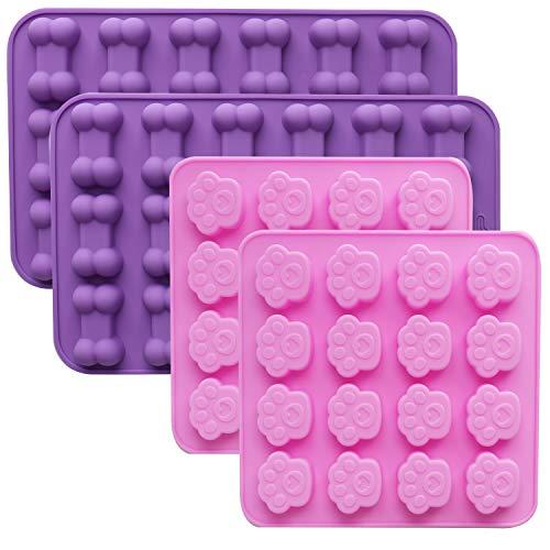 Defrsk 4 Pack Silikon Eisform Tabletts mit Hündchen Pfote und Knochen Form Food Grade Wiederverwendbare Backformen Maker für die Gestaltung von Kuchen, Süßigkeiten, Kekse, Schokolade, Pink und Lila