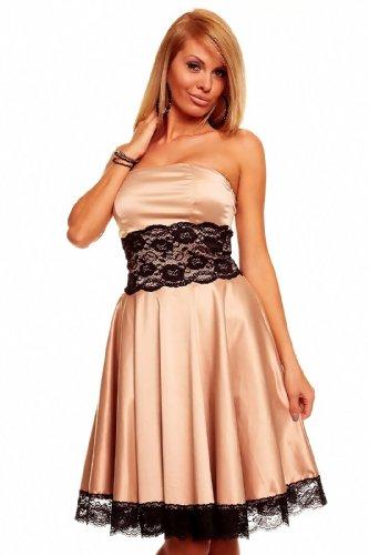 Knielanges Bandeau Kleid Satinkleid Ballkleid Abendkleid Cocktailkleid Festkleid Braun M (36)