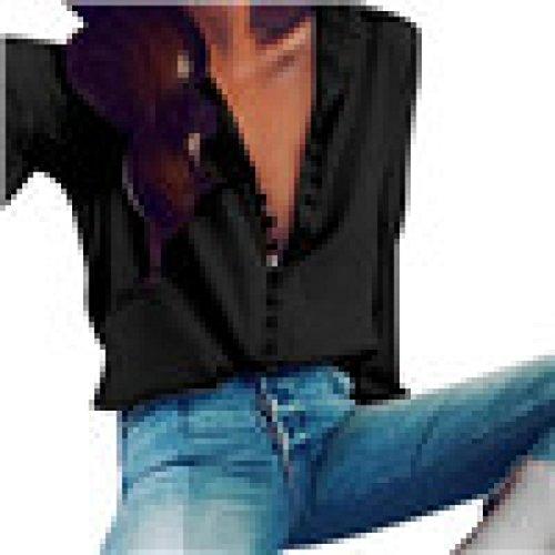 Damen Bluse Rosennie Frauen Lässige Lange Ärmel Einreiher Revers Shirt Mädchen Mode Tasten Solide OL Stil Frühling Sommer Shirt Geschenke V-Ausschnitt Reizvolle Loose T-Shirts (L, Schwarz) (Die Karo-taste Grüne)