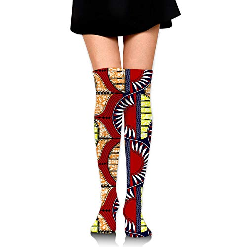 HiExotic Strümpfe Breathable Spring Fall Winter Over Knee Leg Warmer Thigh High Tube Boot Socks Girls Leggings African Pattern Big and Tall Printed Stockings Women Girl (Tall And Womens Big)