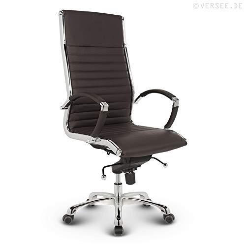 VERSEE Design Bürostuhl Chefsessel Montreal -- Echt-Leder -- braun -- Drehstuhl, Bürodrehstuhl, Schreibtischstuhl, Chefstuhl, Ergonomisch, hohe Rückenlehne, mit Armlehnen, auf Rollen, mit Polsterung, Höhenverstellbar, Wippfunktion, Designklassiker, hochwertige Verarbeitung, massives Metall-gestell, Chrom Büro Sessel, Stuhl, 150 kg belastbarkeit