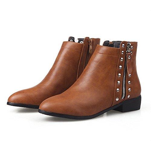 AllhqFashion Damen Weiches Material Spitz Zehe Eingelegt Knöchel Hohe Hoher Absatz Stiefel, Rot, 35