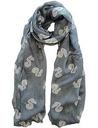 Grey & White Squirrel Print Scarf Animal Ladies Fashion Scarves