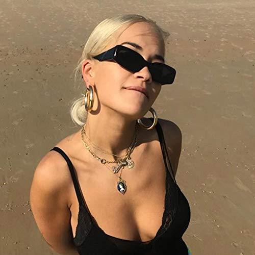 Fcostume Frauen Männer Vintage Eye Sonnenbrillen Retro Eyewear Mode Strahlenschutz (Schwarz)