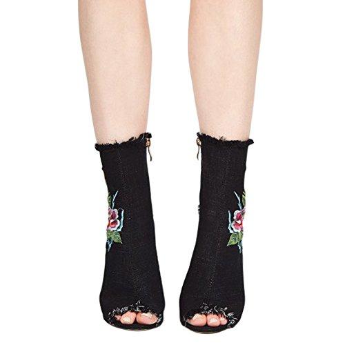 Damen Sandalen Stiefel Peep Toe High-Heel Blockabsatz Cowboy Blumendruck Schwarz