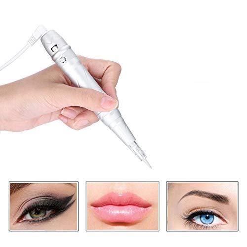 ttoo Maschine für Augenbraue Lippe Eyeliner mit 6 Nadeln, Multifunktions Digitale Microblading Pen und Nadel, Rotary Augenbrauen Tattoo Stift Schraubpatronen Nadeln(EU) ()