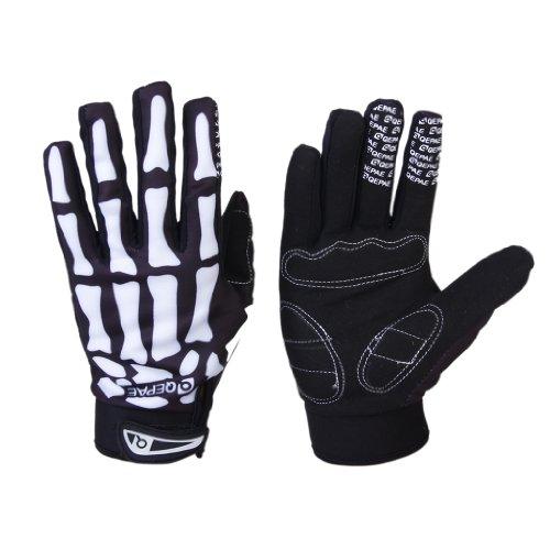 Fahrrad Skelett Muster Voll Finger warmen Radsport Handschuhe schwarz + weiß (XL)