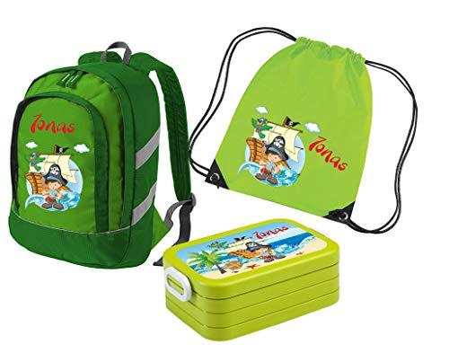 *Mein Zwergenland Set 4 Kindergartenrucksack Bicolor + Brotdose Lunchbox Maxi und Turnbeutel mit Namen, 3-teilig, Pirat, Grün*