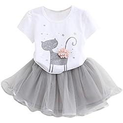 K-youth Vestido de niña, Vestido para Bebés Ropa Impresa de Camisa y del Vestido del Gato Muchacha Encantadora Ropa de Bebe niña Verano 2018 (Blanco, 3-4 años)