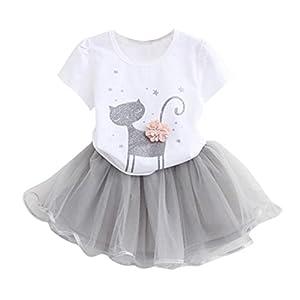 K-youth Vestido de niña, Vestido para Bebés Ropa Impresa de Camisa y del Vestido del Gato Muchacha Encantadora Ropa de Bebe niña Verano 2018 7