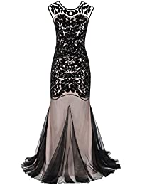 PrettyGuide Women 's 1920s Black Sequin Gatsby Floor Length Evening Prom Dress