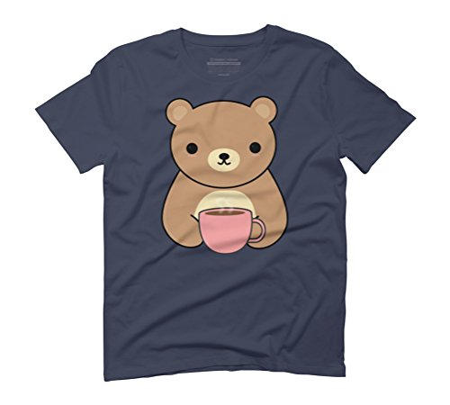Cute and Kawaii Brown Bear Drinking Coffee Men's Graphic T-Shirt - Design By Humans Navy