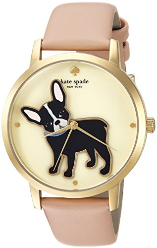 Kate Spade New York Women's 'Grand Metro' Quartz Stainless Steel and Leather Casual Watch, Color Beige (Model: KSW1345)