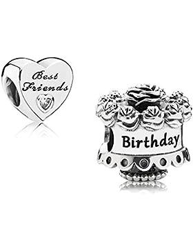 Original Pandora Geschenkset - 1 Silber Charm 791289 Happy Birthday + 1 Silber Charm 791727CZ Best Friends-Herz
