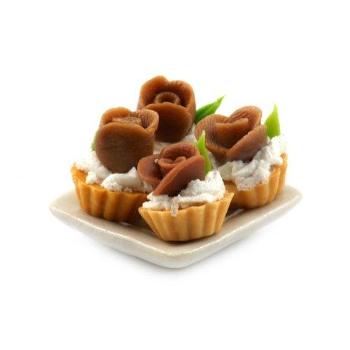MyTinyWorld 4 Maison de poupées miniature Chocolat Rose Tartes sur une 19mm Assiette carrée